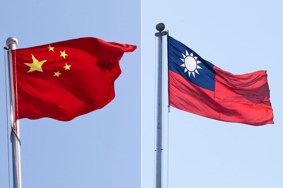 The People's Republic of China flag (left) has largely replaced the Republic of China flag