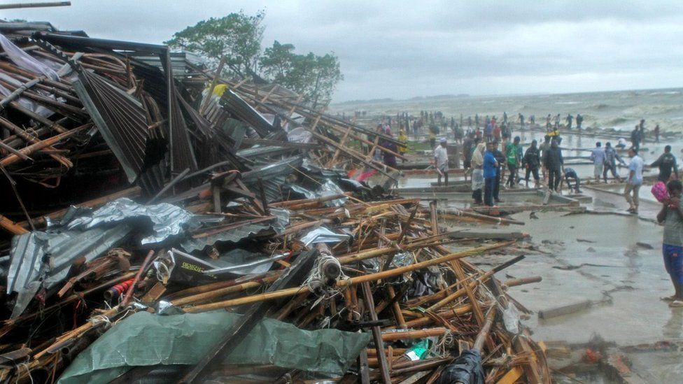 Debris of damaged shops after a cyclone in Bangladesh