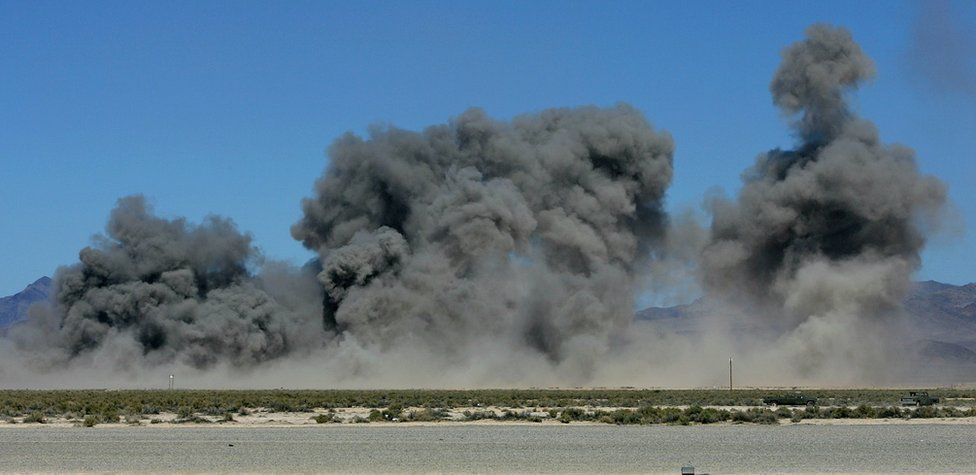 Explosions from bombing test in Nevada