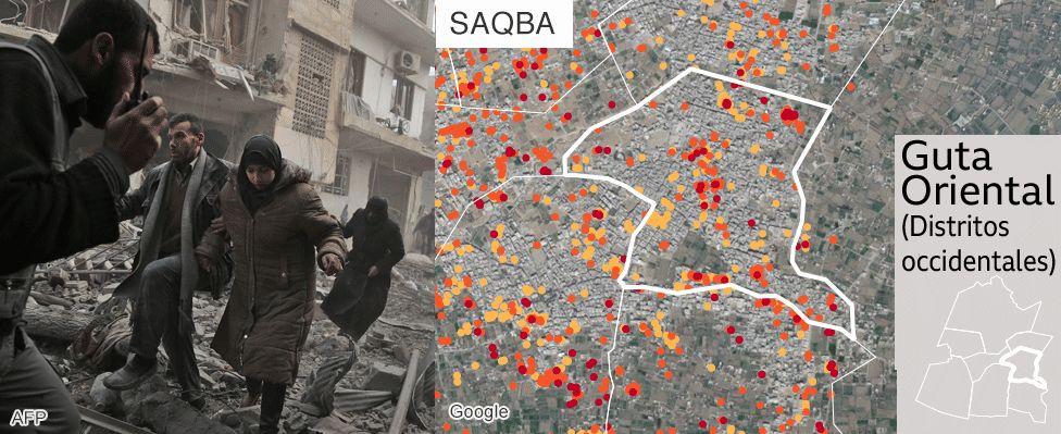Mapa que muestra los daños en Saqba, Guta Oriental