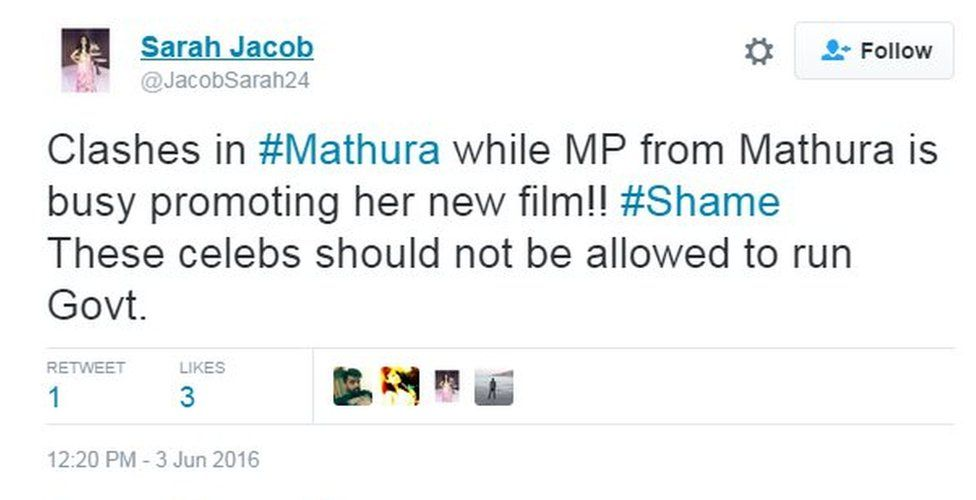 Clashes in #Mathura while MP from Mathura is busy promoting her new film!! #Shame