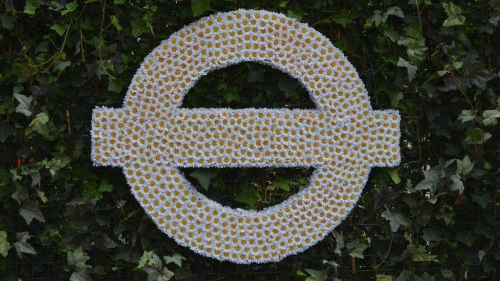 London Underground roundel created with flowers