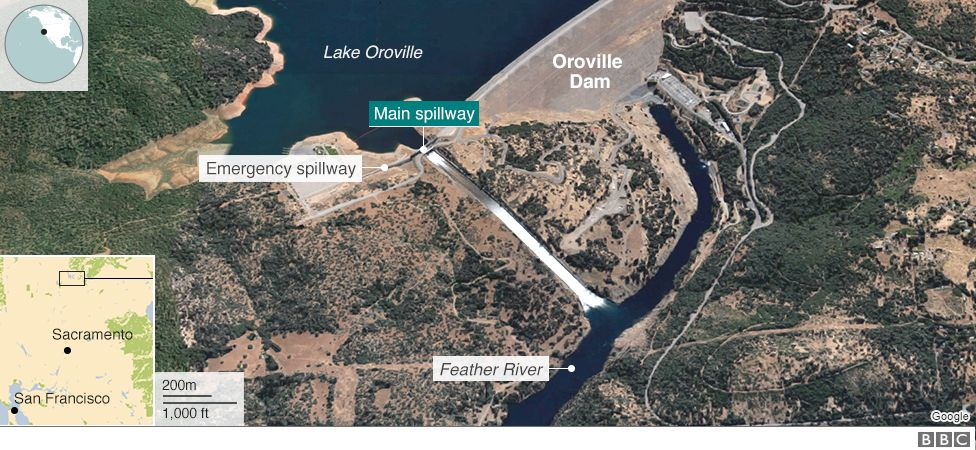 A map showing Oroville Dam, California