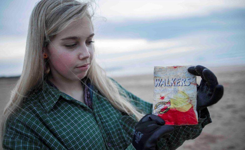 Emily Stevenson with the crisp packet she found