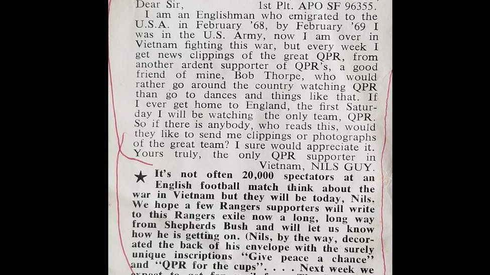 Letter sent by Nils Guy to QPR