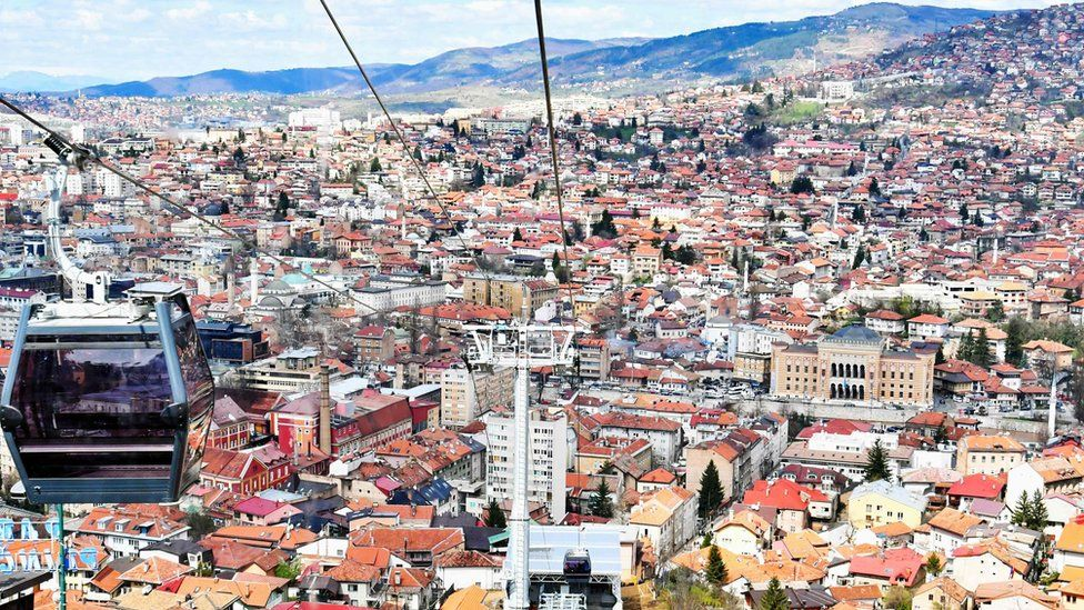 A view from the newly-reopened Sarajevo cable car, connecting Sarajevo Old Town with Vidikovac on Mount Trebevic on 6 April 2018