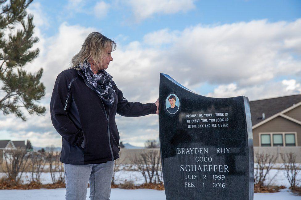 Melissa Schaeffer at her son's grave in Helena