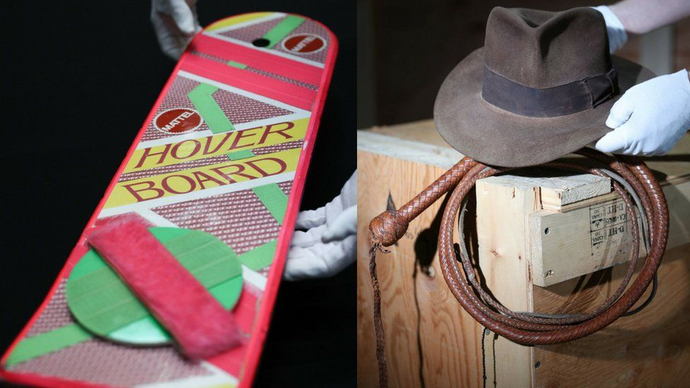 Marty McFly's hoverboard from Back to the Future II and Indiana Jones's hat and whip