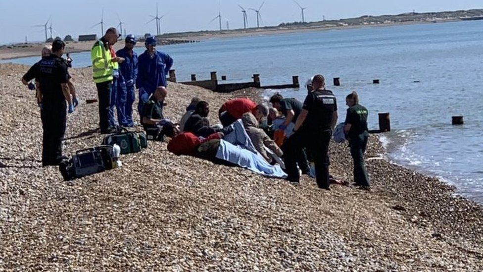 Migrants on Winchelsea Beach