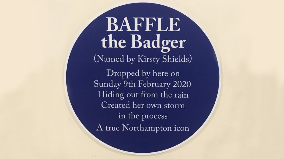 Baffle the Badger blue plaque