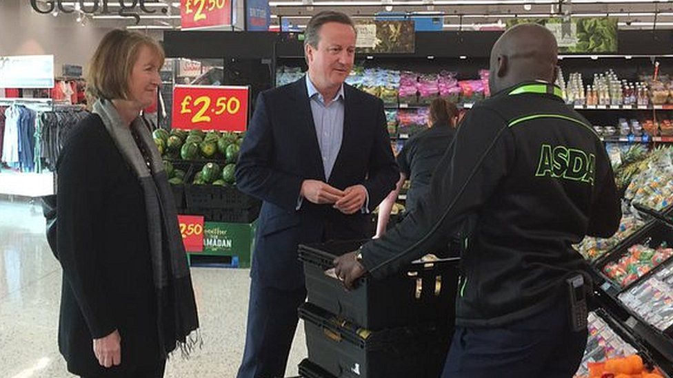 David Cameron visiting an Asda store in Hayes with Labour's former deputy leader Harriet Harman