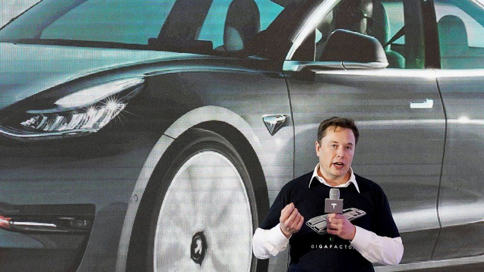 Tesla Inc CEO Elon Musk speaks onstage during a delivery event for Tesla China-made Model 3 cars at its factory in Shanghai, China January 7, 2020.