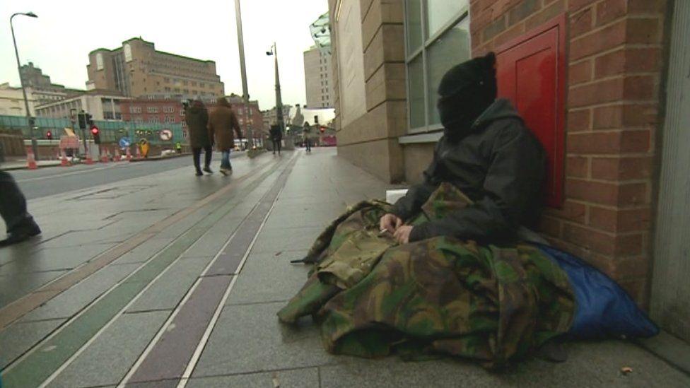 Homeless person in Birmingham
