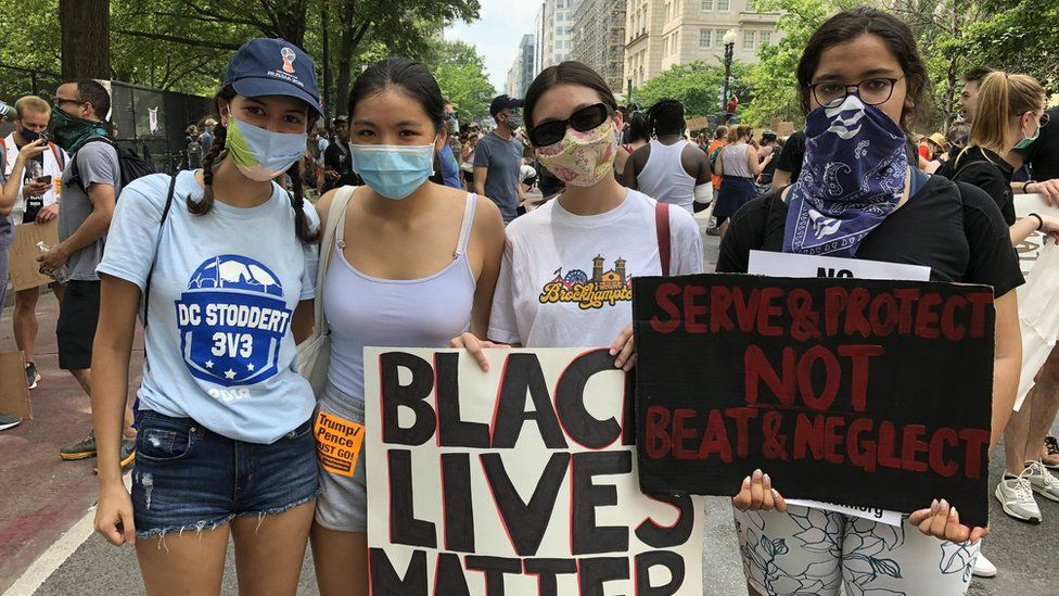 Teenagers Sofia Pastor, Wengfay Ho, Olivia Biggs and Annie Hedgepeth at a protest in DC on Saturday 6 June