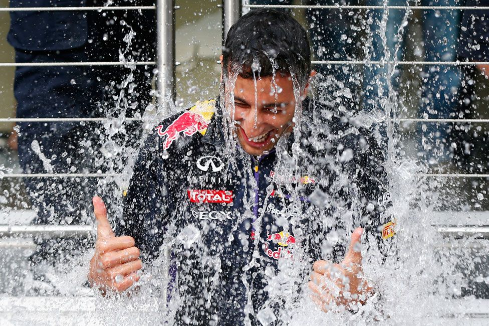 Formula 1 driver Daniel Ricciardo taking part in the ALS Ice Bucket Challenge in 2014
