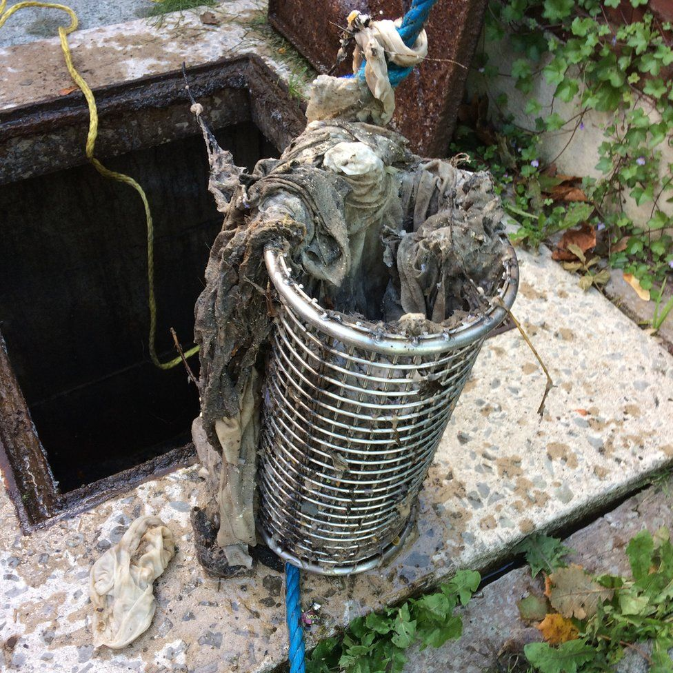 Wet wipes causing a blockage at a house on the outskirts of Manchester