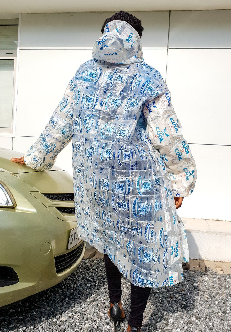 Water sachets turned into a raincoat