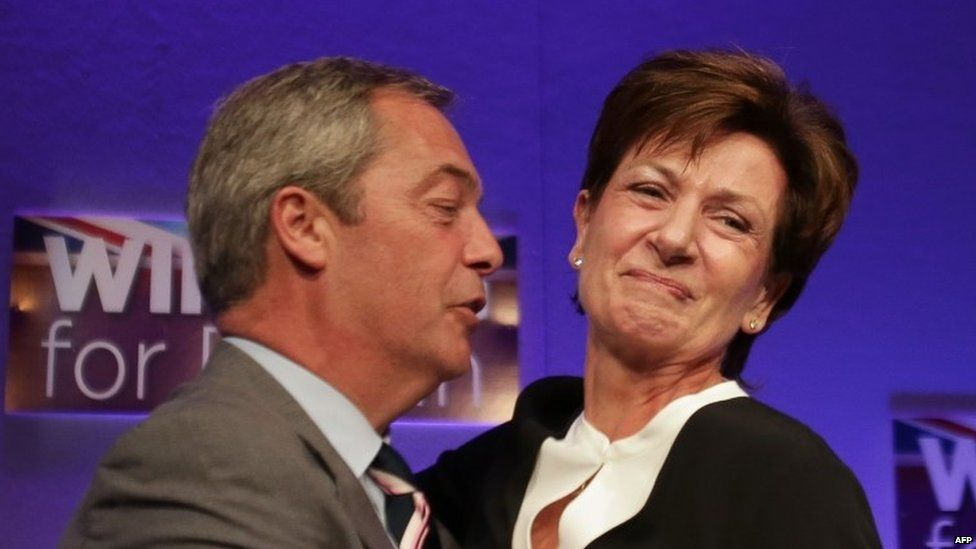 Nigel Farage greets Diane James after she is elected leader in 2016