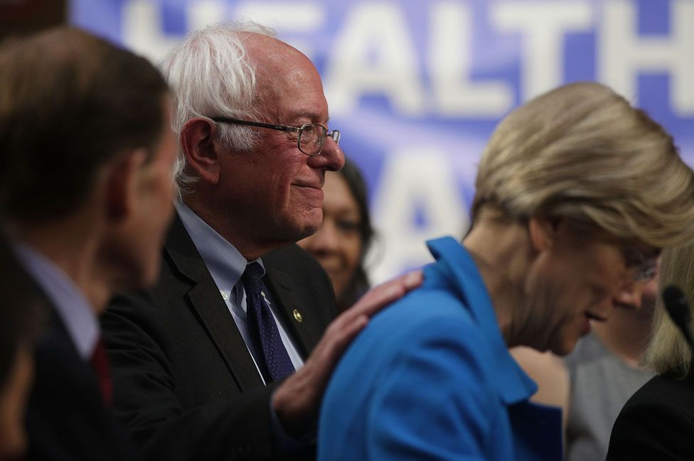 Sanders and Warren in 2017