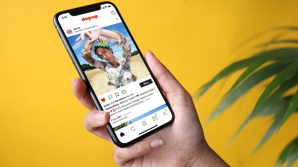 A smartphone with the Depop app open
