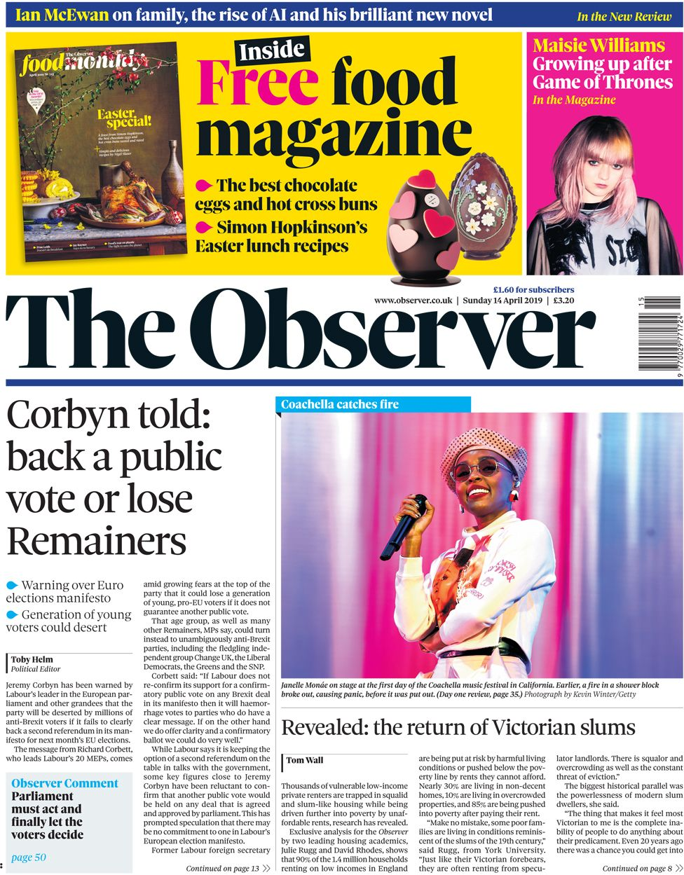 Observer front page, 14/4/19
