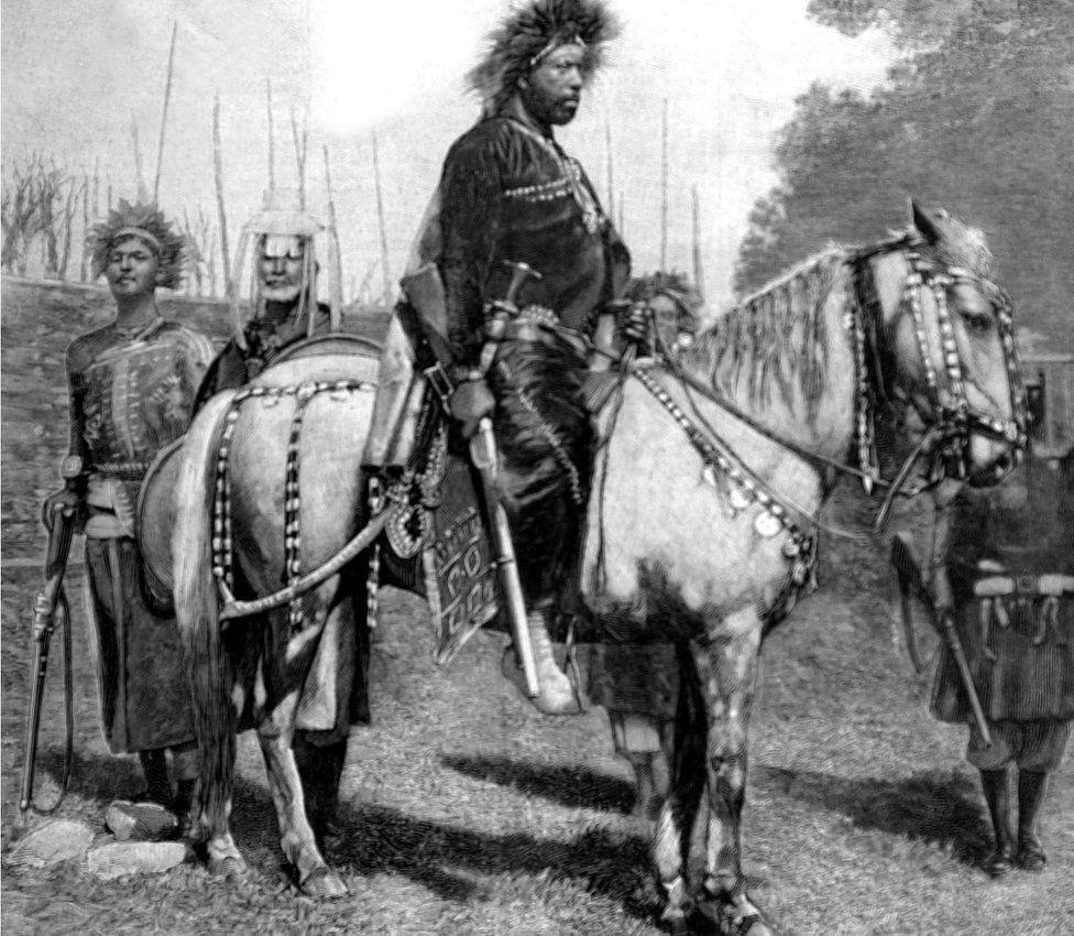 Emperor Menelik in battle dress pictured in 1896