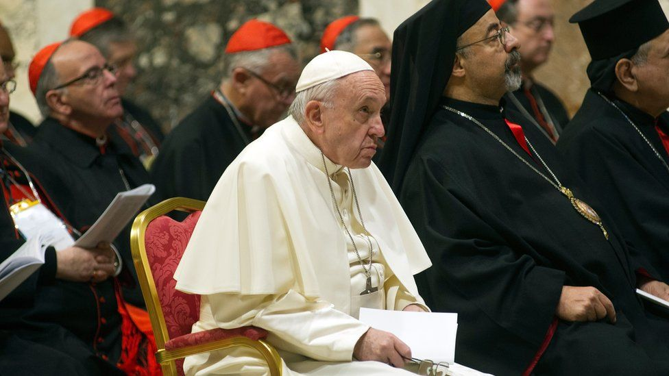 Pope Francis at a summit on protecting minors in the church in February 2019