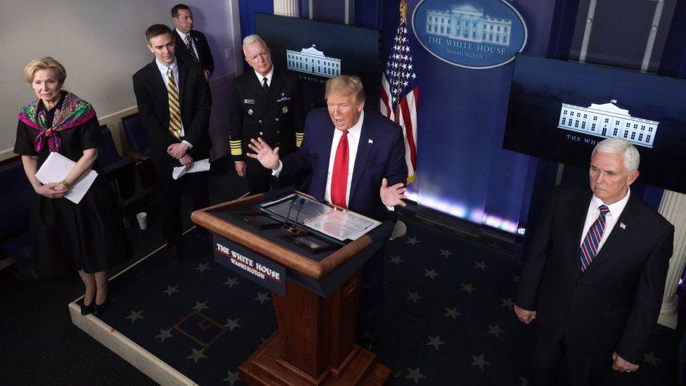 Donald Trump at a daily coronavirus briefing