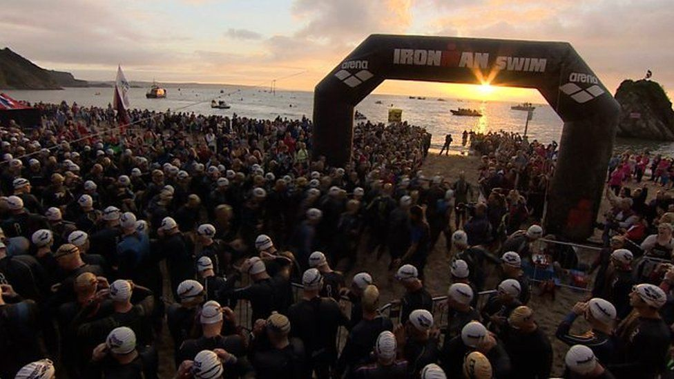 The race began on North Beach, Tenby at 06:55 BST