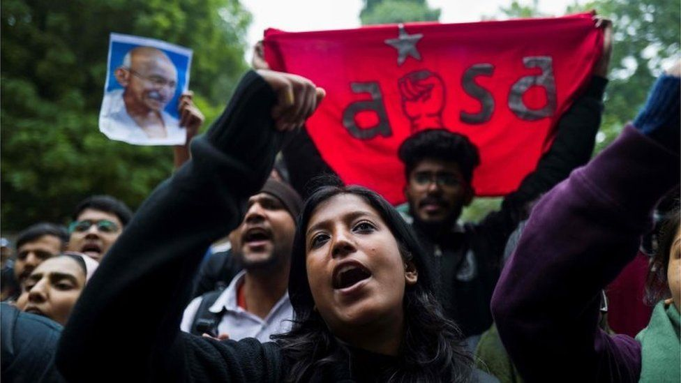 Demonstrators shout slogans to protest against the Indian government's Citizenship Amendment Bill (CAB) in New Delhi on December 16, 2019.