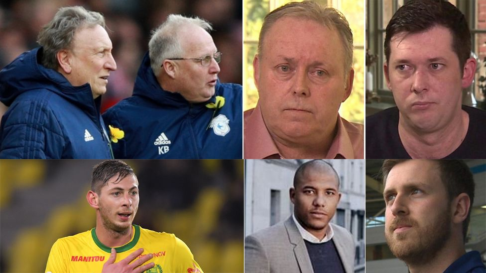 Picture clockwise top left: Neil Warnock with assistant manager Kevin Blackwell; Willie and Mark McKay, Callum Davies, Meissa N'Diaye and Emiliano Sala