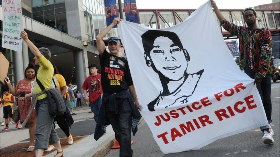 Protesters demonstrate in support of Tamir Rice in Cleveland in 2015.
