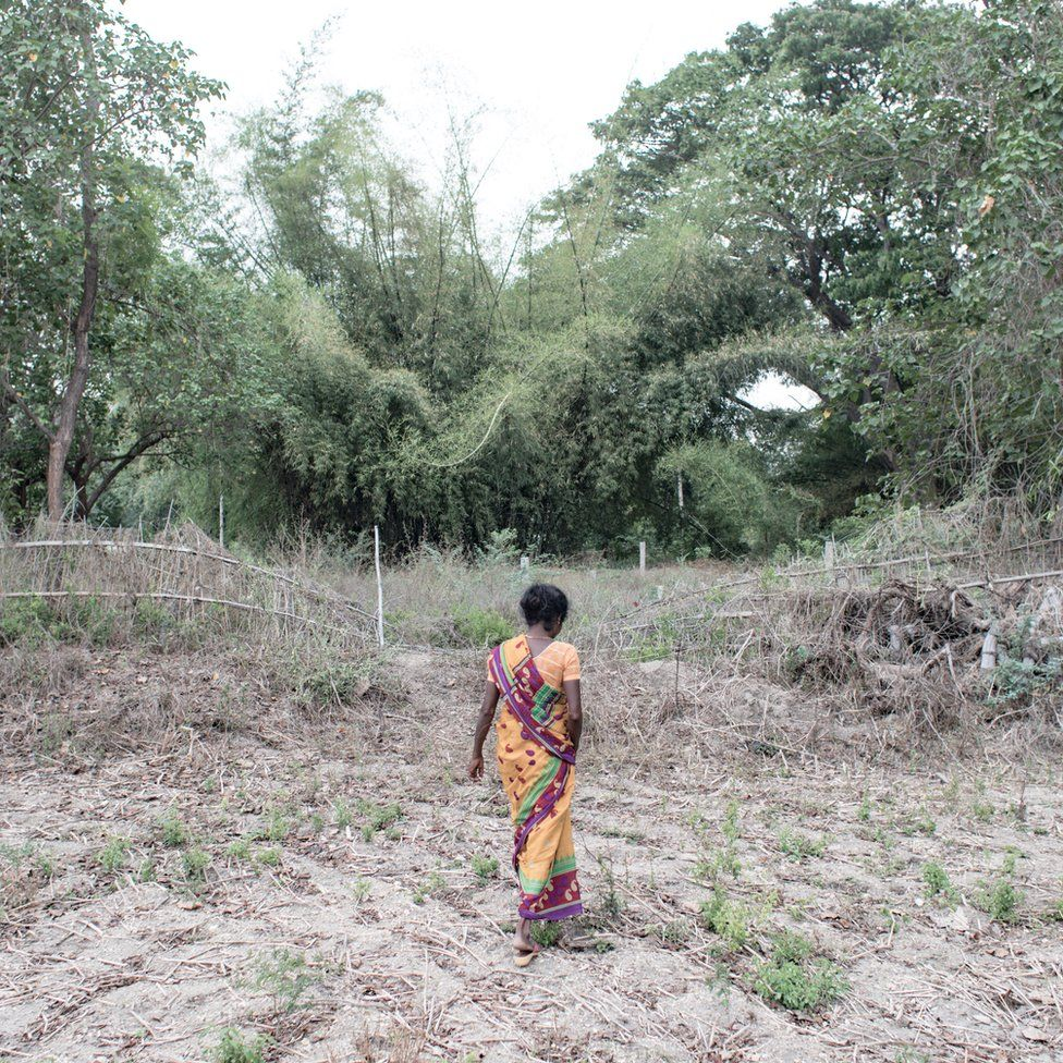 Mallika standing in the middle of the field, where her husband Pallicham killed himself in January 2017. Laalgudhi village, Tamil Nadu, India.