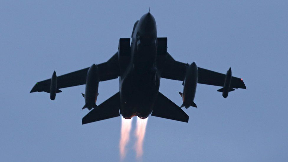 A Tornado jet takes off from RAF Lossiemouth in Scotland, as RAF Tornado jets carried out the first British bombing runs over Syria, the Ministry of Defence has confirmed