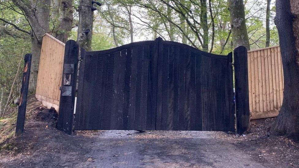 Chris Packham's gates after a suspected arson attack