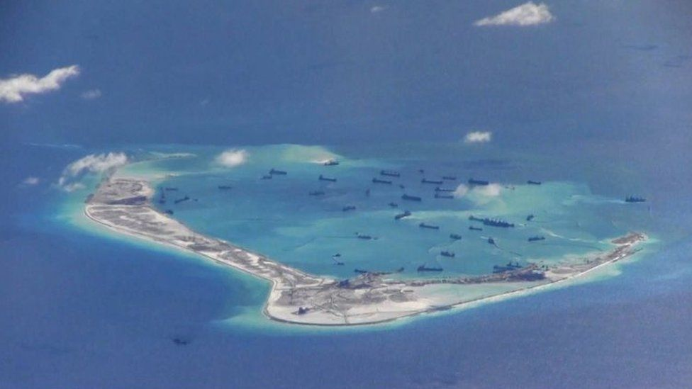 Chinese dredging vessels are purportedly seen in the waters around Mischief Reef in the disputed Spratly Islands in the South China Sea (May 2015)