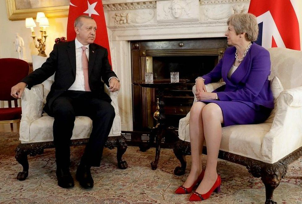 Recep Tayyip Erdogan meeting Theresa May in Downing Street