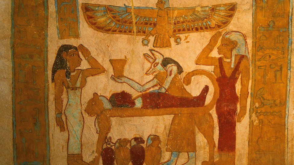 Painted wall in Egyptian tomb
