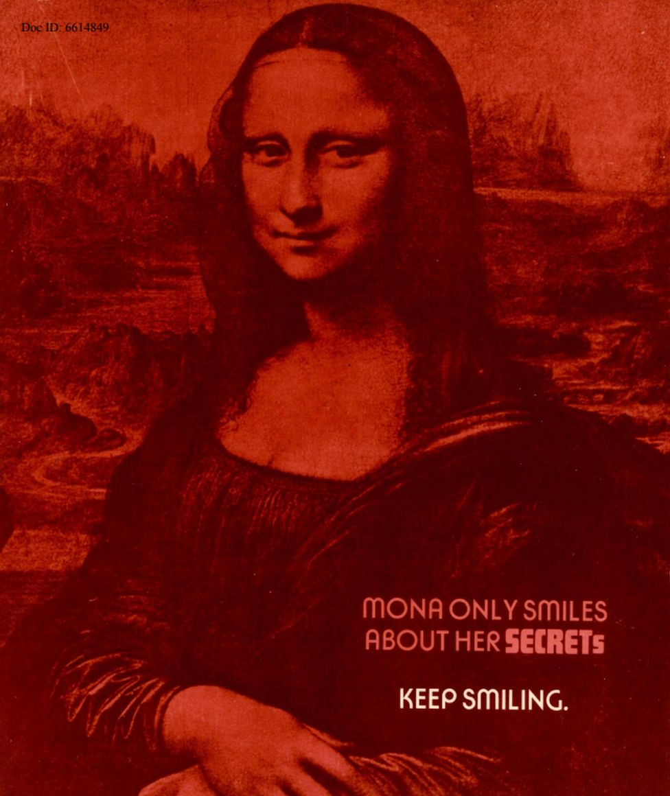 """Mona only smiles about her secrets. Keep smiling"" - an NSA security poster featuring the Mona Lisa"