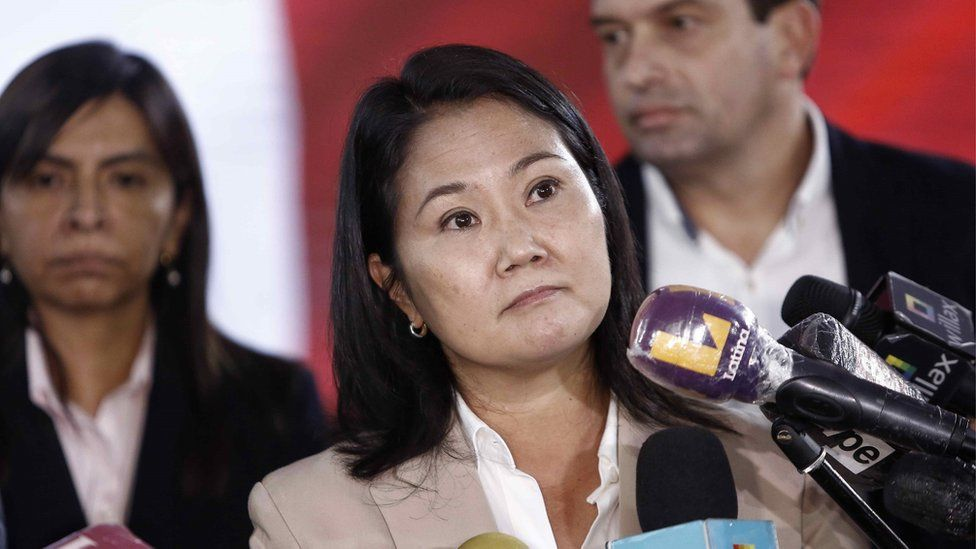 Peruvian Presidential candidate Keiko Fujimori during a news conference in Lima