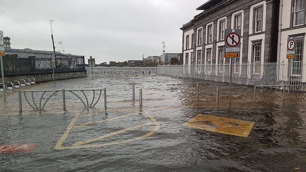 Pictures of a flooded square in Limerick, Ireland