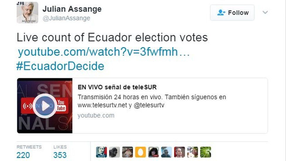 Tweet by Julian Assange reading: Live count of Ecuador election votes, and a link to Telesur's coverage