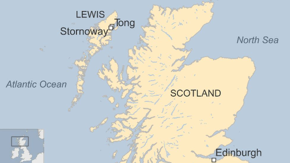 A map showing Lewis and Scotland in the context of the UK