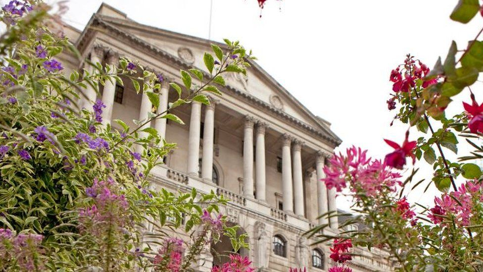 Bank of England with flowers in front of it