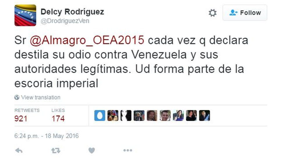 """A tweet by Delcy Rodriguez reading: """"Mr Almagro, every time you makes a statement he expresses his hatred against Venezuela and its legitimate authorities. You are part of the imperialist detritus"""