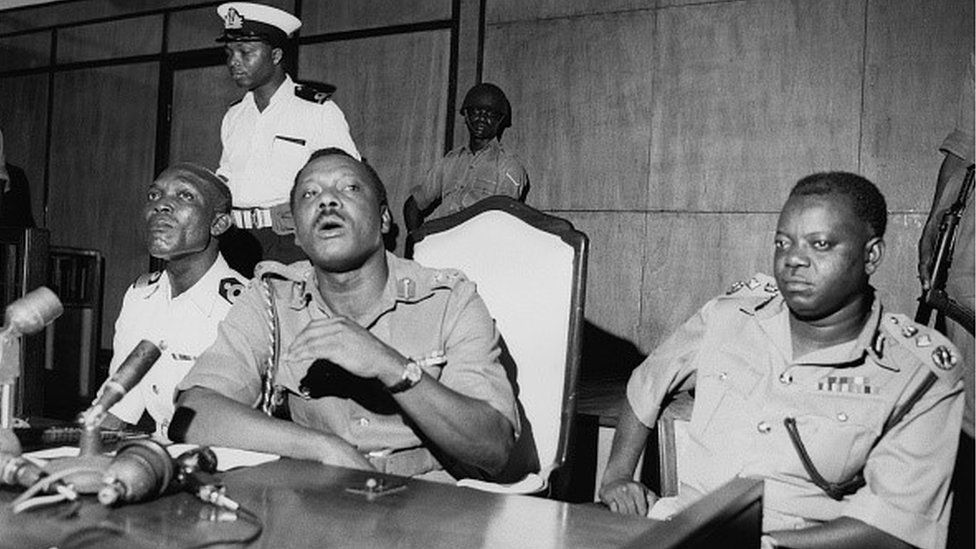 Major General Johnson Aguiyi-Ironsi (1924 - 1966) during a press conference in Nigeria, 24th January 1966