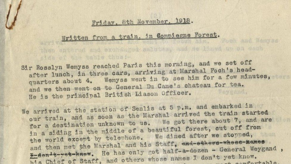 Captain Needham sent correspondence from a railway carriage in the Forest of Compiegne where the armistice was signed