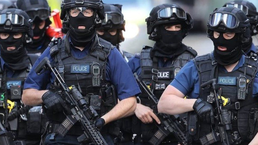 Counter-terrorism officers near the scene of the attacks at London Bridge
