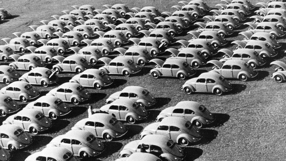 Rows of 'Volkswagen Beetle cars, circa 1950