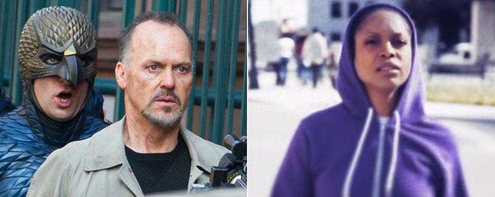 Michael Keaton in Birdman and Erykah Badu in her music video for Window Seat